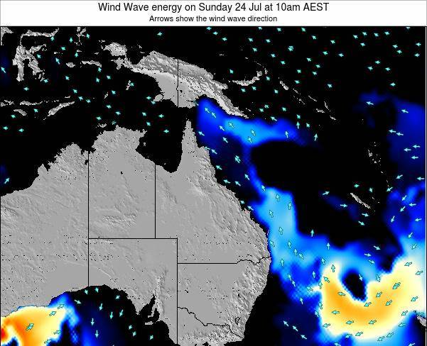 Queensland Wind Wave energy on Wednesday 24 Dec at 4am EST