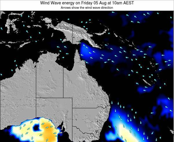 Queensland Wind Wave energy on Tuesday 22 Apr at 4pm EST
