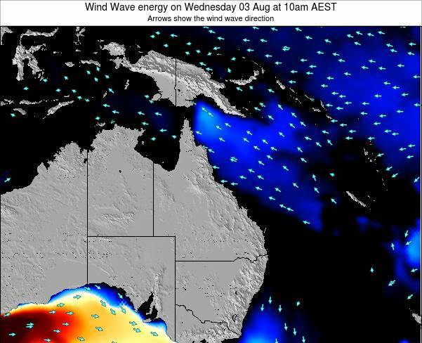 Queensland Wind Wave energy on Friday 06 Dec at 4pm EST