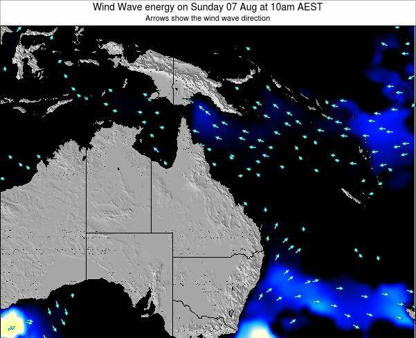 Queensland Wind Wave energy on Wednesday 01 Mar at 4am AEST