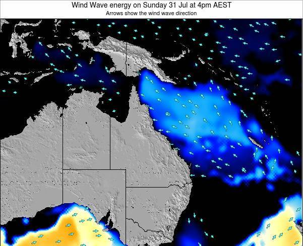 Queensland Wind Wave energy on Tuesday 22 Apr at 10am EST