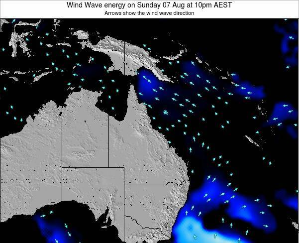 Queensland Wind Wave energy on Saturday 26 Apr at 4pm EST