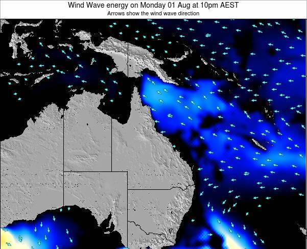 Queensland Wind Wave energy on Wednesday 12 Mar at 10pm EST