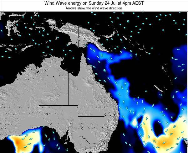 Queensland Wind Wave energy on Sunday 24 Aug at 4am EST