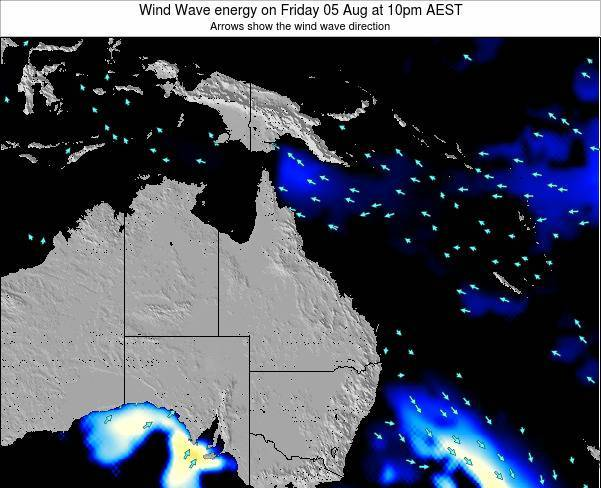 Queensland Wind Wave energy on Tuesday 21 May at 4pm EST