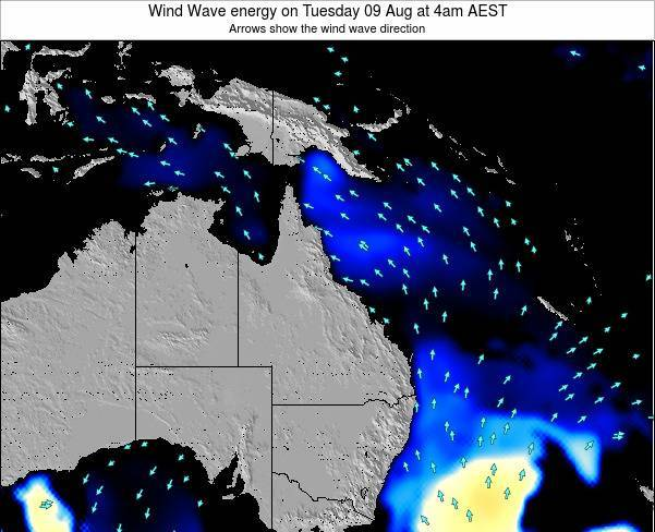 Queensland Wind Wave energy on Thursday 12 Dec at 4am EST