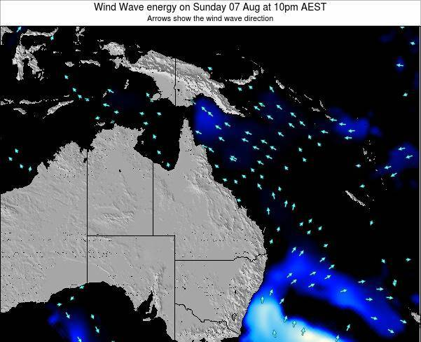 Queensland Wind Wave energy on Saturday 22 Jun at 4am EST