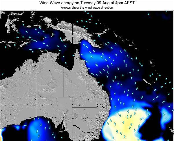 Queensland Wind Wave energy on Thursday 03 Dec at 4pm AEST