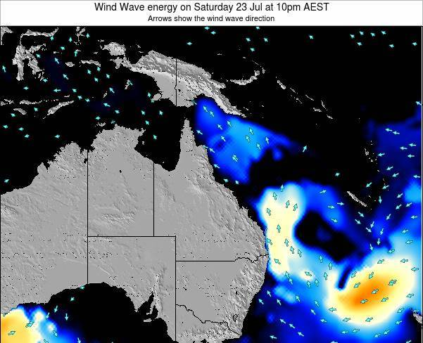 Queensland Wind Wave energy on Friday 25 Jul at 10am EST