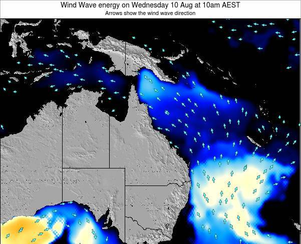 Queensland Wind Wave energy on Saturday 28 Apr at 4am AEST map