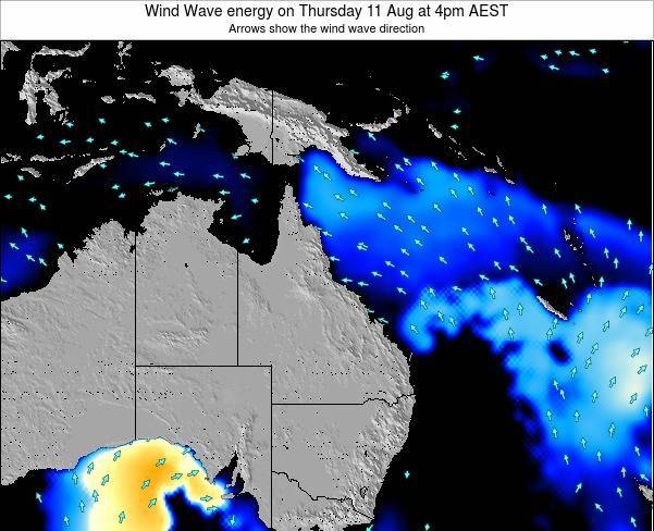 Queensland Wind Wave energy on Wednesday 22 May at 4am EST