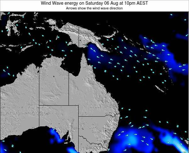 Queensland Wind Wave energy on Saturday 15 Dec at 10am AEST map