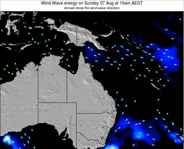Queensland Wind Wave energy on Tuesday 28 May at 4am EST
