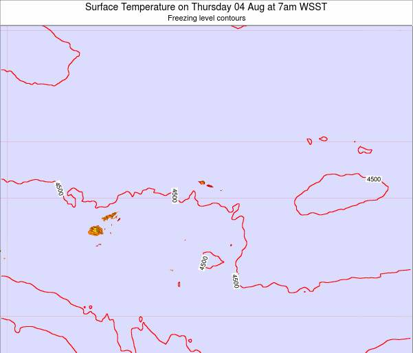 Samoa Surface Temperature on Friday 24 May at 1pm WST