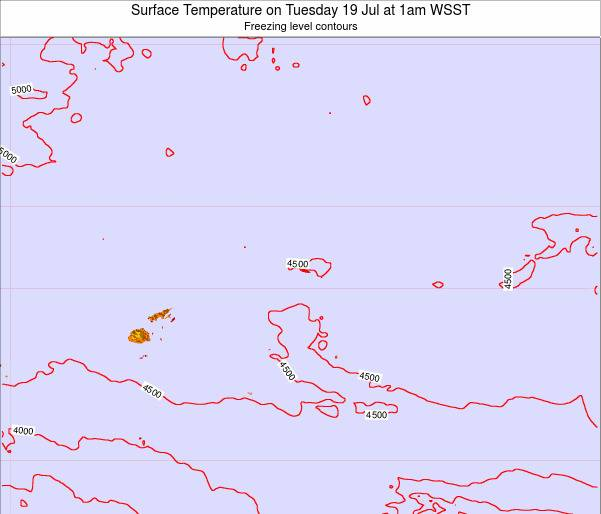 Samoa Surface Temperature on Monday 20 May at 1pm WST