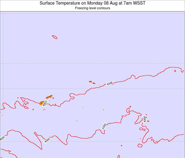 Samoa Surface Temperature on Saturday 25 May at 7pm WST