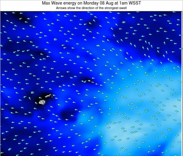 American Samoa Max Wave energy on Wednesday 30 Apr at 1pm WST