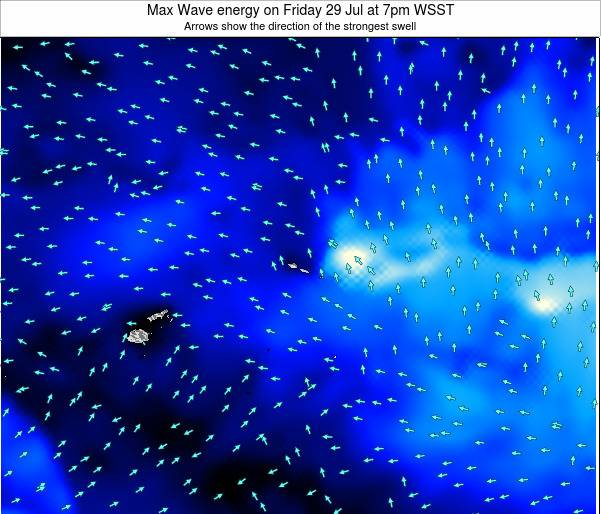 American Samoa Max Wave energy on Thursday 24 Apr at 7am WST