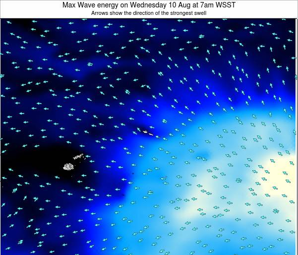American Samoa Max Wave energy on Saturday 01 Jun at 7am WST