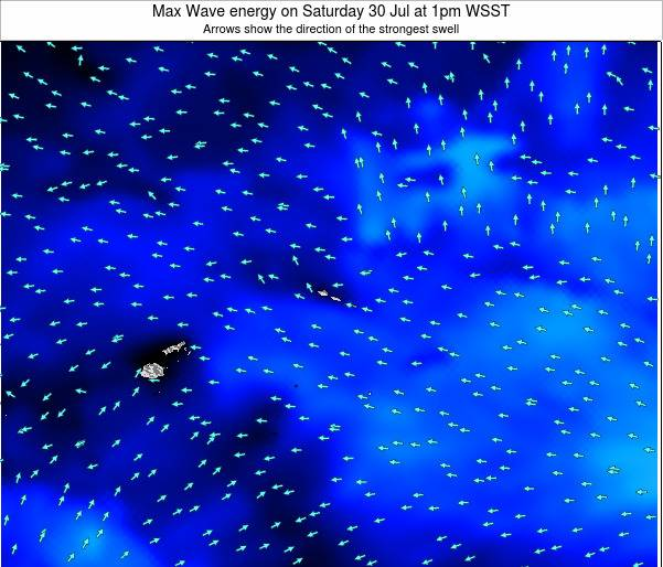 American Samoa Max Wave energy on Saturday 02 Jun at 1am WSST map