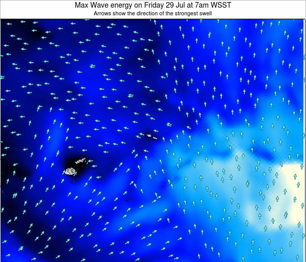American Samoa Max Wave energy on Friday 25 Aug at 1pm WSST