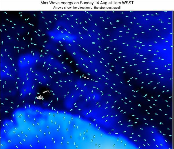 American Samoa Max Wave energy on Monday 04 Aug at 7pm WST