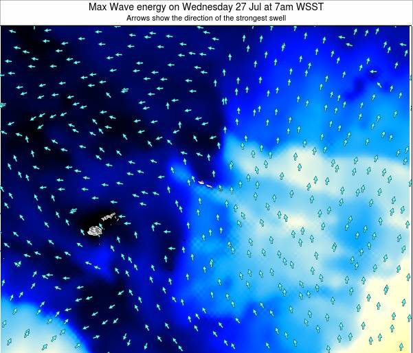American Samoa Max Wave energy on Wednesday 23 Apr at 7pm WST