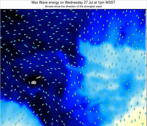 American Samoa Max Wave energy on Saturday 22 Jun at 7pm WST
