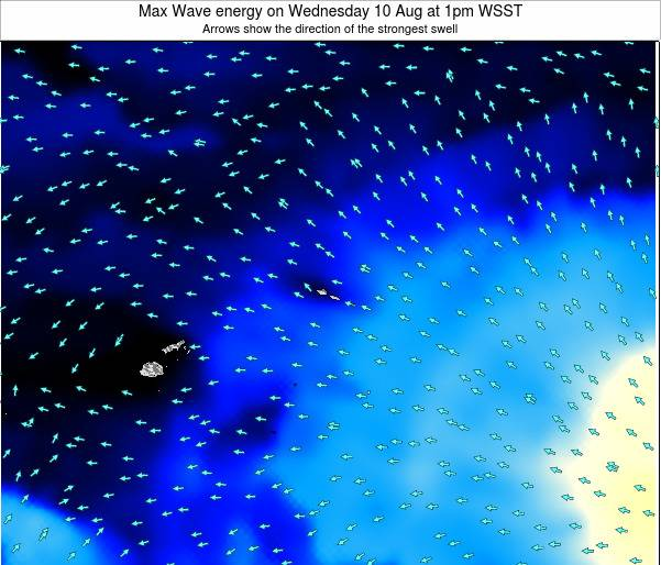 American Samoa Max Wave energy on Thursday 23 Oct at 8pm WSDT