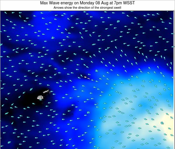 American Samoa Max Wave energy on Wednesday 20 Aug at 7pm WST