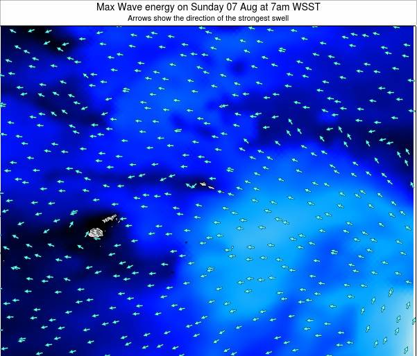 American Samoa Max Wave energy on Thursday 20 Jun at 7pm WST