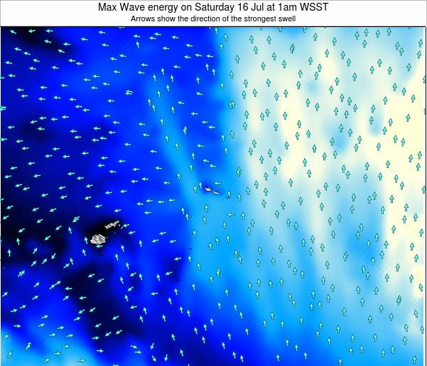 American Samoa Max Wave energy on Saturday 23 Aug at 7am WST
