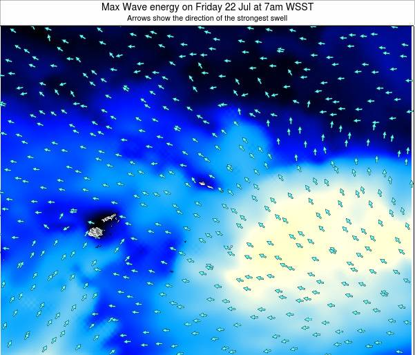 American Samoa Max Wave energy on Thursday 31 Jul at 1pm WST