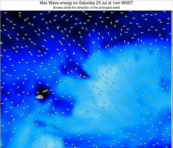 American Samoa Max Wave energy on Monday 09 Dec at 2pm WSDT