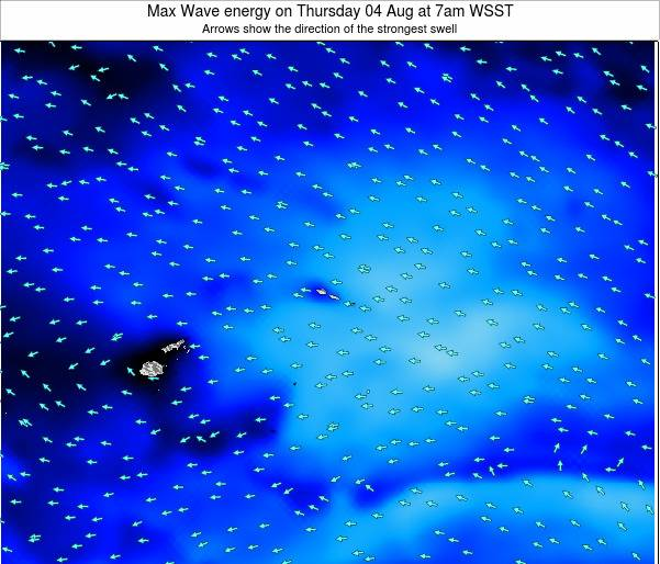 American Samoa Max Wave energy on Thursday 24 Apr at 7pm WST