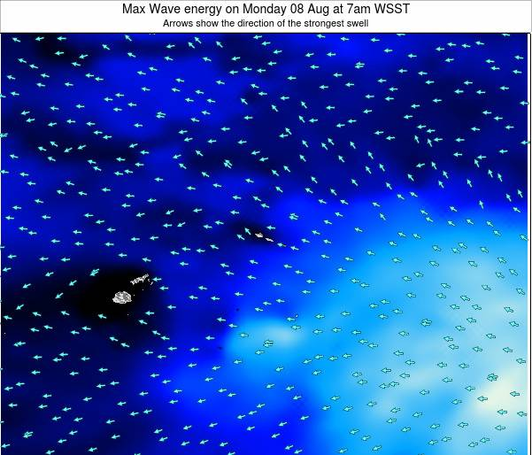 American Samoa Max Wave energy on Friday 25 Apr at 7am WST