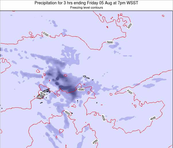 Samoa Precipitation for 3 hrs ending Tuesday 28 May at 7pm WST