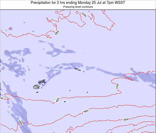 Samoa Precipitation for 3 hrs ending Saturday 25 May at 1pm WST