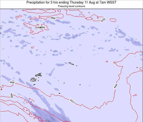 Samoa Precipitation for 3 hrs ending Tuesday 28 May at 7am WST