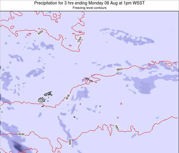Samoa Precipitation for 3 hrs ending Wednesday 22 May at 1pm WST