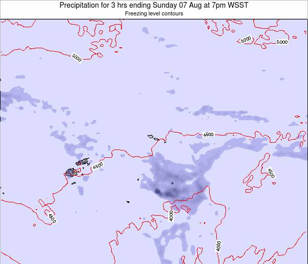 Samoa Precipitation for 3 hrs ending Tuesday 28 May at 1pm WST