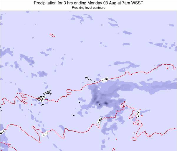 Samoa Precipitation for 3 hrs ending Friday 24 May at 7am WST