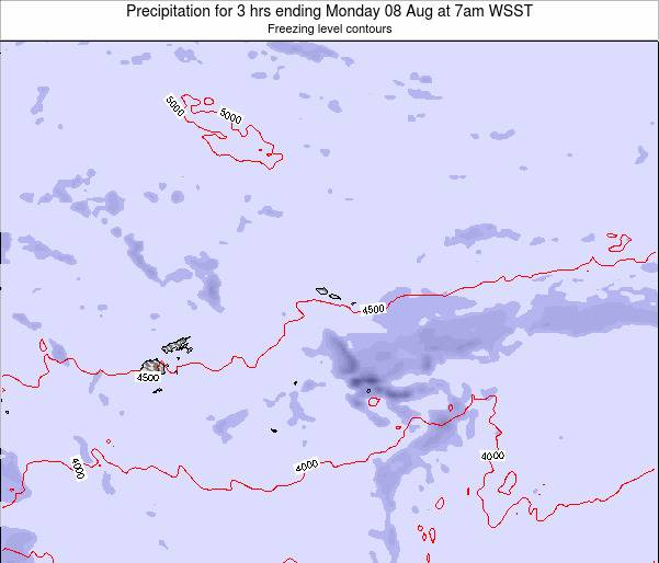 Samoa Precipitation for 3 hrs ending Wednesday 29 May at 7pm WST