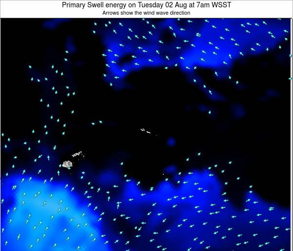 Samoa Primary Swell energy on Saturday 25 May at 1pm WST