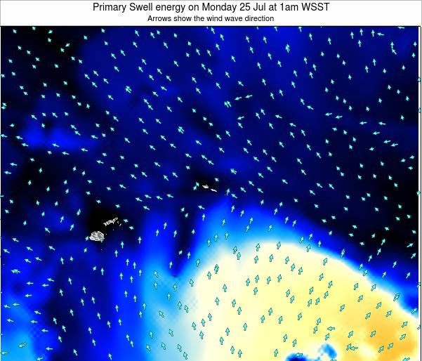 Samoa Primary Swell energy on Saturday 08 Mar at 2pm WSDT