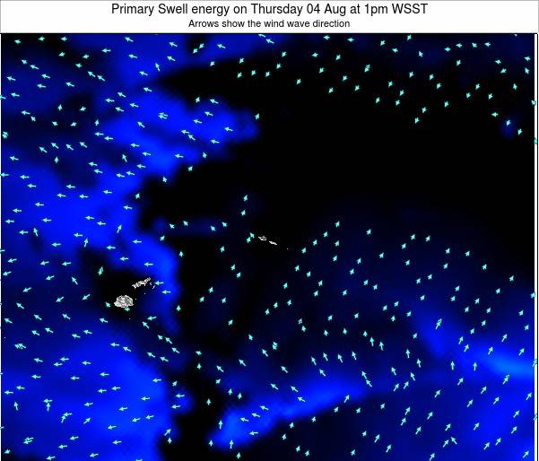 Samoa Primary Swell energy on Saturday 25 May at 7am WST