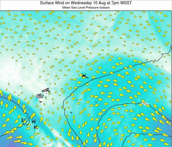 Samoa Surface Wind on Wednesday 29 May at 7pm WST