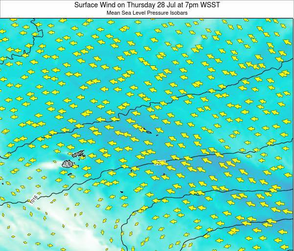 Samoa Surface Wind on Thursday 24 Apr at 1am WST