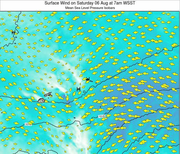 Samoa Surface Wind on Thursday 12 Dec at 8pm WSDT