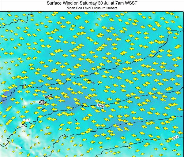 Samoa Surface Wind on Thursday 30 May at 1pm WST